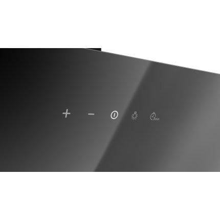 Hota Teka Easy DVN 64060 design vertical, 2 trepte + Turbo, 460 m3/h, 60cm, timer, Sticla neagra