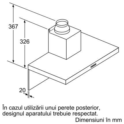 Hota decorativa Bosch DWB67FM50 Serie 4, 60cm, design box, 3 trepte + Intensiv, 752 m³/h Intensiv, inox