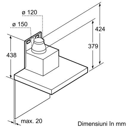 Hota decorativa Bosch DWB97CM50 Serie 6, 90cm, design box, 3 trepte + Intensiv, 721 m³/h Intensiv, inox