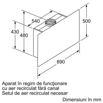 Hota decorativa Bosch DWF97KM60 Serie 6, 90cm, design plat, 3 trepte + Intensiv, 739 m³/h Intensiv, sticla neagra