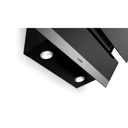 Hota decorativa Bosch DWK065G60 Serie 2, 60cm, design inclinat, 3 trepte, 593 m³/h, RimVentilation, sticla neagra