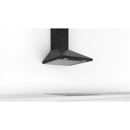 Hota decorativa Bosch DWP64BC60 Serie 2, 60cm, design piramidal, 3 trepte, 365 m³/h, negru