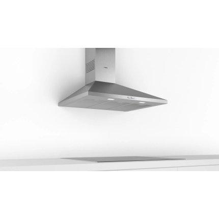 Hota decorativa Bosch DWP96BC50 Serie 2, 90cm, design piramidal, 3 trepte, 626 m³/h max, inox