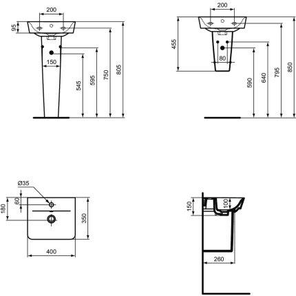 Lavoar Ideal Standard Connect Air Cube 40x46cm, negru mat