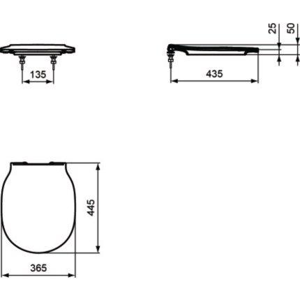 Capac WC Ideal Standard Thin slim cu inchidere lenta pentru Connect Air, negru mat