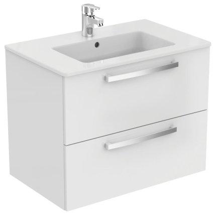 Dulap baza suspendat Ideal Standard Tempo cu doua sertare, 70cm, alb lucios