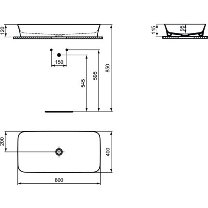 Lavoar tip bol Ideal Standard Ipalyss E1391 80x40cm, fara orificiu baterie, fara preaplin, V3 Black Matt