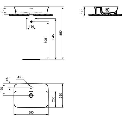 Lavoar tip bol Ideal Standard Ipalyss 55x38cm
