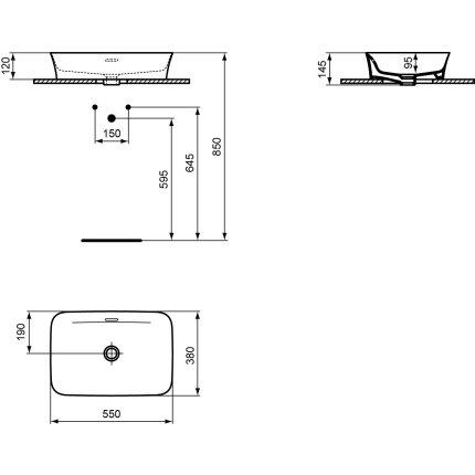 Lavoar tip bol Ideal Standard Ipalyss55x38cm, fara orificiu baterie