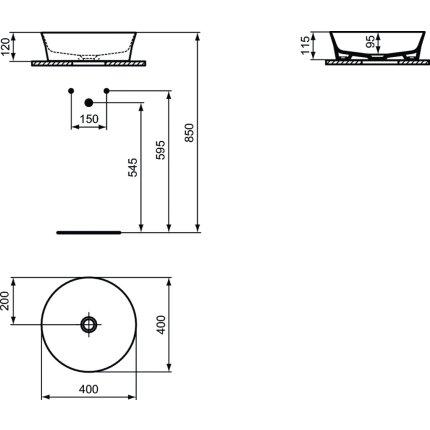 Lavoar tip bol Ideal Standard Ipalyss E1398, diametru 40cm, fara orificiu baterie, fara preaplin, V1 Silk White