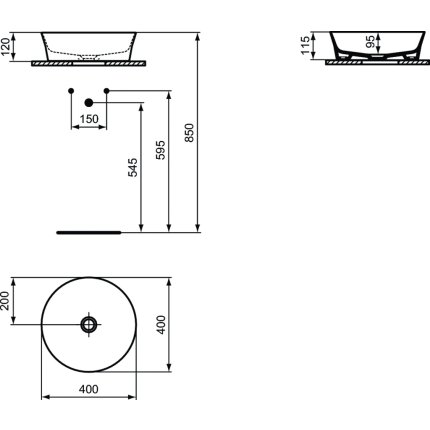 Lavoar tip bol Ideal Standard Ipalyss E1398, diametru 40cm, fara orificiu baterie, fara preaplin, X8 Powder