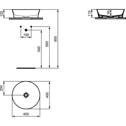 Lavoar tip bol Ideal Standard Ipalyss E1398, diametru 40cm, fara orificiu baterie, fara preaplin, X9 Sage