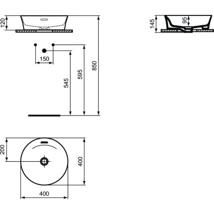 Lavoar tip bol Ideal Standard Ipalyss E1413, diametru 40cm, fara orificiu baterie, V2 Black Gloss