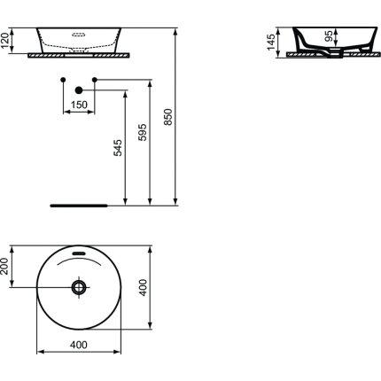Lavoar tip bol Ideal Standard Ipalyss E1413, diametru 40cm, fara orificiu baterie, V3 Black Matt