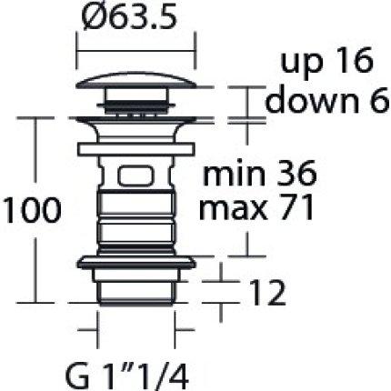 Ventil click-clack Ideal Standard pentru lavoare cu preaplin, gri magnetic
