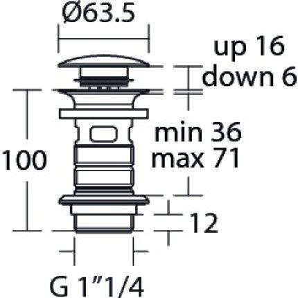 Ventil click-clack Ideal Standard pentru lavoare fara preaplin, negru mat
