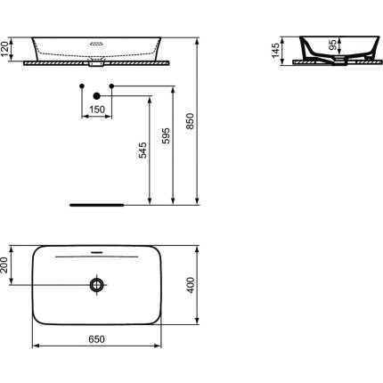 Lavoar tip bol Ideal Standard Ipalyss E1887 65x40cm, fara orificiu baterie, 01 Euro White