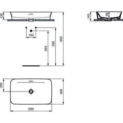 Lavoar tip bol Ideal Standard Ipalyss E1887 65x40cm, fara orificiu baterie, V1 Silk White