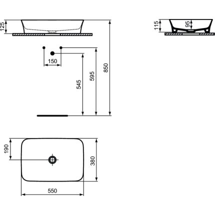 Lavoar tip bol Ideal Standard Ipalyss E2076 55x38cm, fara orificiu baterie, fara preaplin, V2 Black Gloss