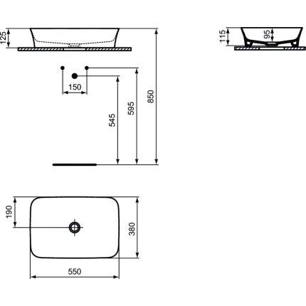 Lavoar tip bol Ideal Standard Ipalyss E2076 55x38cm, fara orificiu baterie, fara preaplin, V3 Black Matt
