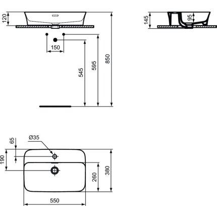 Lavoar tip bol Ideal Standard Ipalyss E2077 55x38cm, V9 Concrete