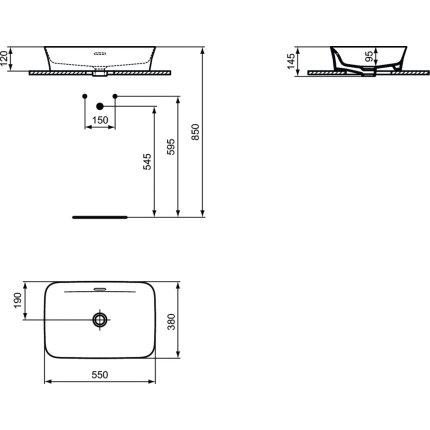 Lavoar tip bol Ideal Standard Ipalyss E2078 55x38cm, fara orificiu baterie, V1 Silk White