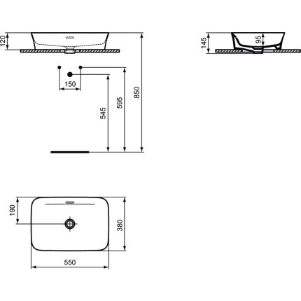 Lavoar tip bol Ideal Standard Ipalyss E2078 55x38cm, fara orificiu baterie, V2 Black Gloss