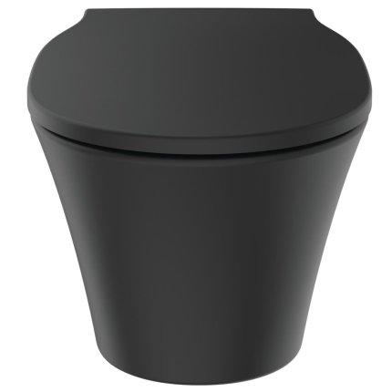Vas WC suspendat Ideal Standard Connect Air Rimless, negru mat