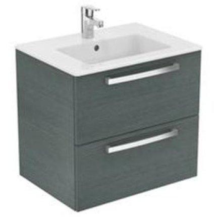 Set mobilier suspendat Ideal Standard Tempo 60cm cu lavoar si dulap baza cu 2 sertare, stejar gri