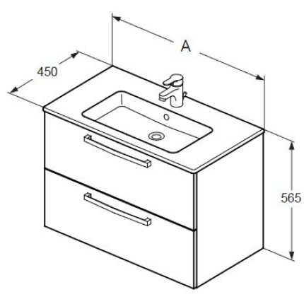 Set mobilier suspendat Ideal Standard Tempo 80cm cu lavoar si dulap baza cu 2 sertare, stejar nisip