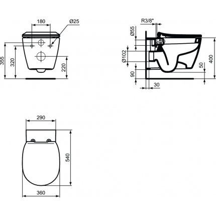 Vas WC suspendat Ideal Standard Connect cu functie de bideu, fixare ascunsa