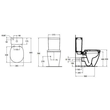 Set complet vas WC Ideal Standard Connect back-to-wall cu functie de bideu, rezervor asezat si capac inchidere lenta