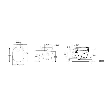 Vas WC suspendat Ideal Standard Connect cu functie de bideu