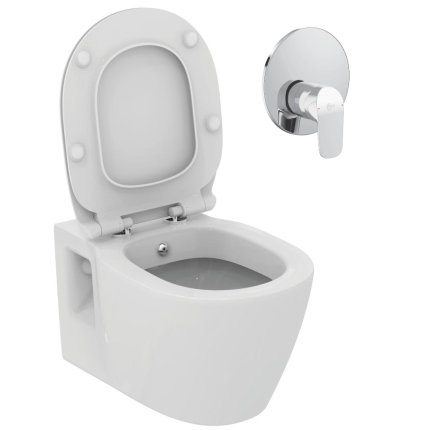 Set vas WC suspendat Ideal Standard Connect cu functie de bideu si actionare cu montaj incastrat Ceraflex