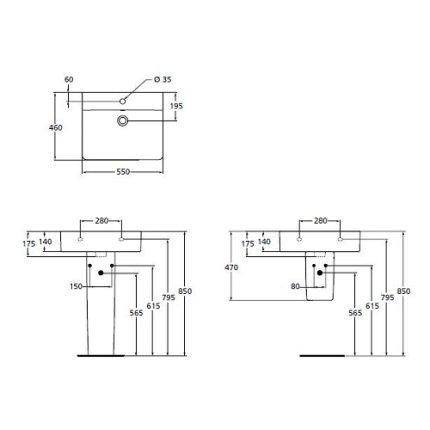 Lavoar Ideal Standard Connect Cube 55cm