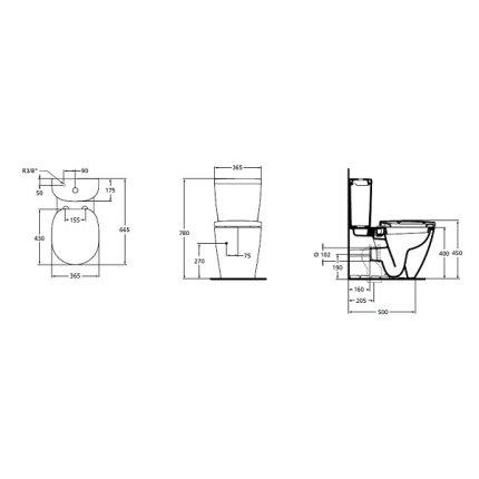 Rezervor Ideal Standard pentru vas wc pe pardoseala Connect Arc, alb