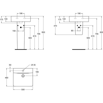 Lavoar Ideal Standard Connect Cube 50x46cm