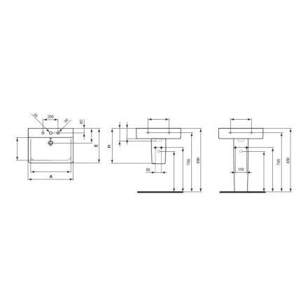 Lavoar Ideal Standard Connect Cube 60x46cm