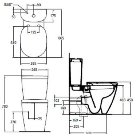 Vas WC Ideal Standard Connect back-to-wall, pentru rezervor asezat