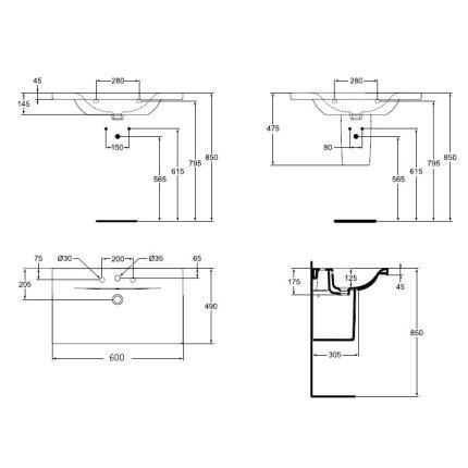Lavoar Ideal Standard Connect Vanity 60x49cm