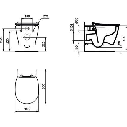Vas WC suspendat Ideal Standard Connect Rimless 55 cm