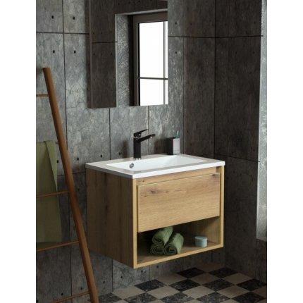 Set mobilier Sanotechnik Soho cu dulap baza suspedat si lavoar compozit 80x46cm, stejar antic