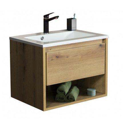 Set mobilier Sanotechnik Soho cu dulap baza suspedat si lavoar compozit 60x48cm, stejar antic