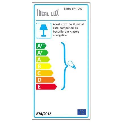 Suspensie Ideal Lux Etna SP1 D50, 1x100W, 50x45-110cm, alb