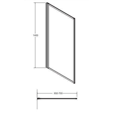 Paravan de cada Besco Enzo I, 70x140cm, un element mobil, profil negru
