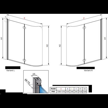 Paravan cada Radaway EOS PND 130/L, doua elemente mobile, 130 cm, deschidere stanga