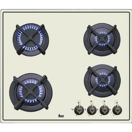 Plita gaz incorporabila Teka ER 60 4G AI AL CI cu 4 arzatoare, 60 cm, gratare fonta, ivoire