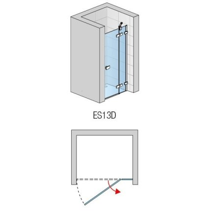 Usa de dus pivotanta cu parte fixa Sanswiss Escura Aquaperle 90cm dreapta, sticla securizata transparenta 6mm, profil slefuit lucios