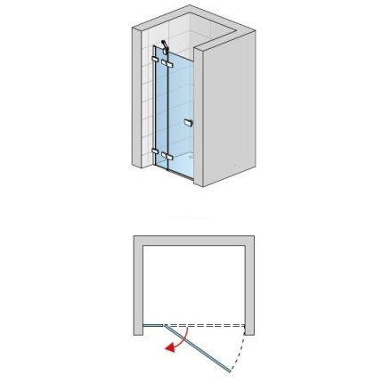 Usa de dus pivotanta cu parte fixa Sanswiss Escura Aquaperle 90cm stanga, sticla securizata transparenta 6mm, profil slefuit lucios