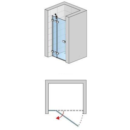 Usa de dus pivotanta cu parte fixa Sanswiss Escura Aquaperle 140cm stanga, sticla securizata transparenta 6mm, profil slefuit lucios